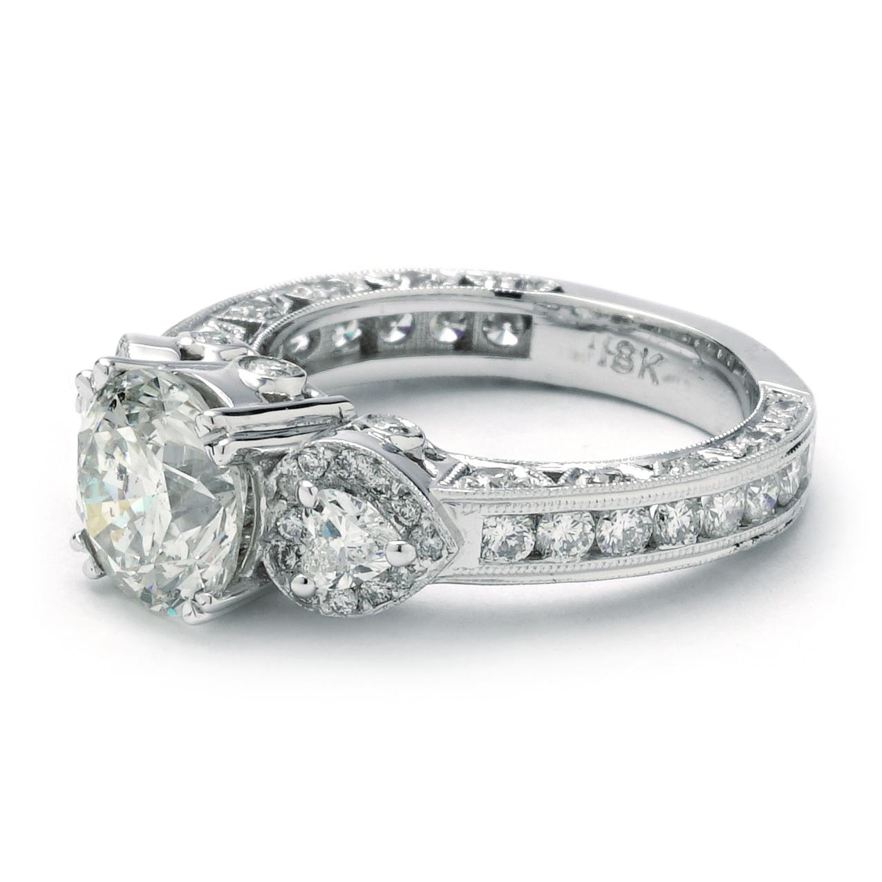 Gemstone Engagement Rings Chicago: Vintage Styled Three Stone Round Center Engagement Ring