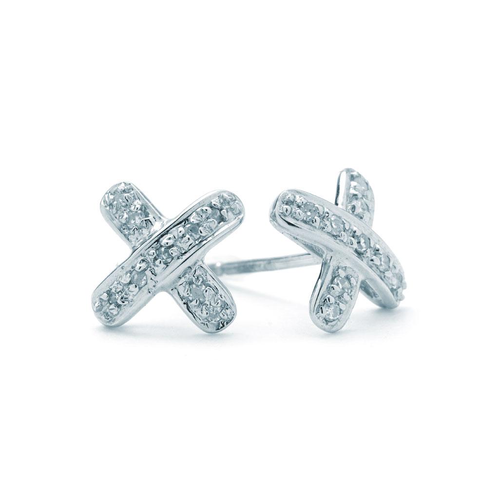 X Shaped Diamond Stud Earrings E927823