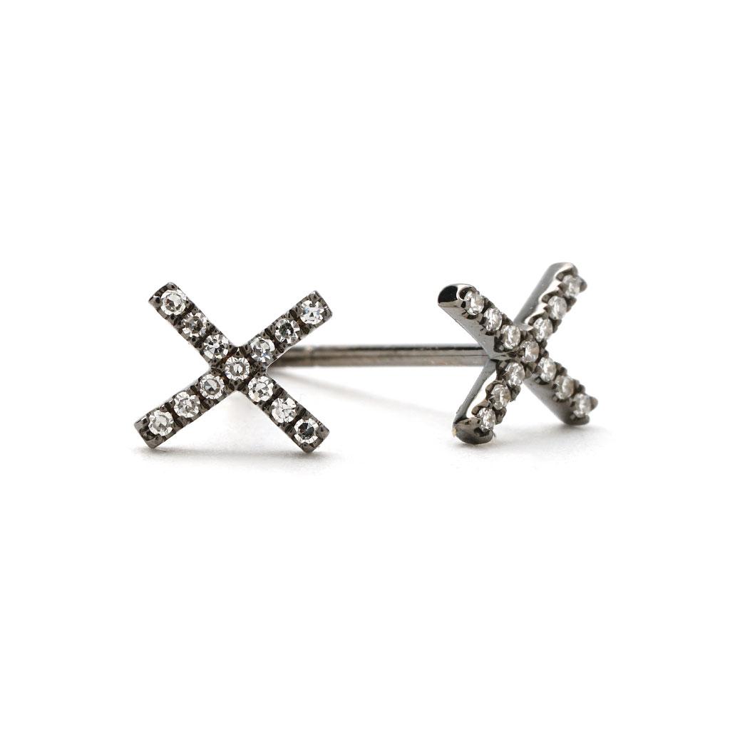 Black X Shaped Diamond Stud Earrings